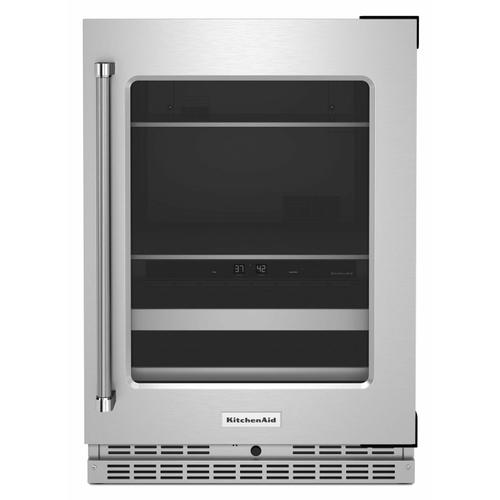 """KitchenAid - 24"""" Beverage Center with Glass Door and Metal-Front Racks - Stainless Steel"""