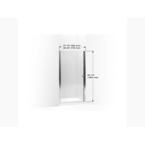"""Crystal Clear Glass With Bright Silver Frame Pivot Shower Door, 65-1/2"""" H X 27-1/4 - 28-3/4"""" W, With 1/4"""" Thick Crystal Clear Glass"""
