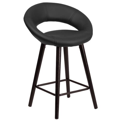 24'' High Contemporary Cappuccino Wood Counter Height Stool in Black Vinyl
