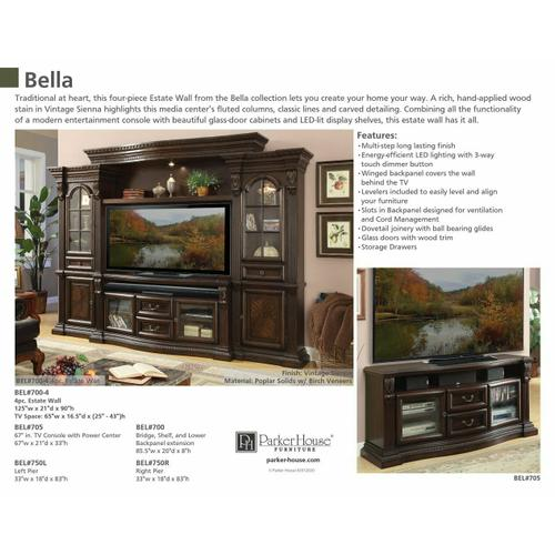Parker House - BELLA 67 in. TV Console with power center