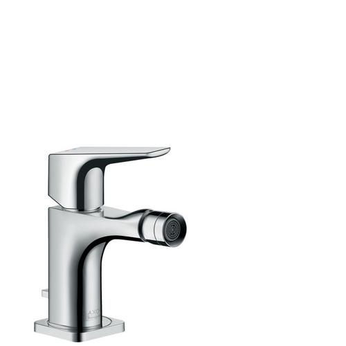 Chrome Single lever bidet mixer with lever handle and pop-up waste set
