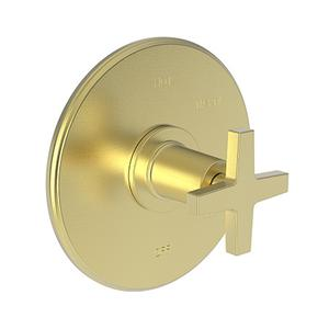 Satin Brass - PVD Balanced Pressure Shower Trim Plate with Handle. Less showerhead, arm and flange.