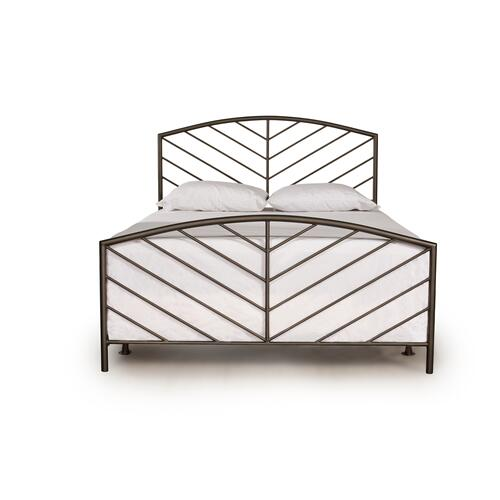 Essex Queen Metal Bed With Frame, Metallic Brown