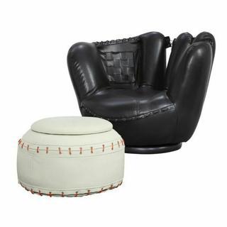 ACME All Star 2Pc Pack Chair & Ottoman - 05522 - Baseball: Black Glove Chair - White Ottoman