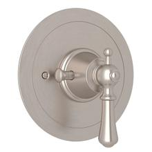 Georgian Era Round Thermostatic Trim Plate without Volume Control - Satin Nickel with Metal Lever Handle