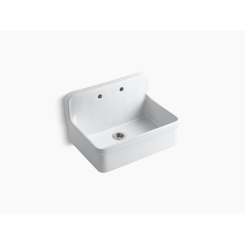 """White 30"""" X 22"""" X 17-1/2"""" Wall-mount/top-mount Single-bowl Kitchen Sink"""