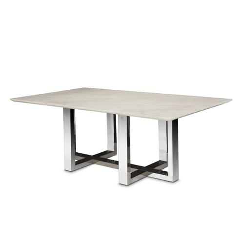 Rectangular Marble Top Dining Table (2 Pc)