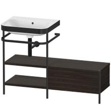 Furniture Washbasin C-bonded With Metal Console Floorstanding, Brushed Walnut (real Wood Veneer)