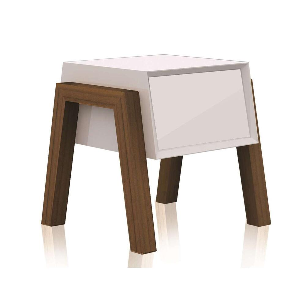 See Details - The Figo High Gloss White Lacquer Nightstands