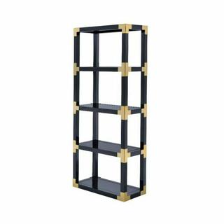 ACME Lafty Bookshelf - 92475 - Gold & Black High Gloss - Black Mirror
