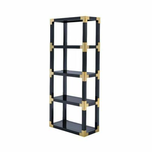 ACME Lafty Bookshelf - 92475 - Gold & Black High Gloss - Black Mirror