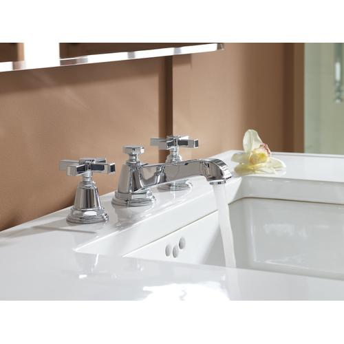 Polished Chrome Widespread Bathroom Sink Faucet With Cross Handles