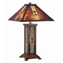 See Details - Table Lamp, D/brz/tiffany Shade&night Lite, E27 A 60wx2 & C 7