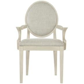 East Hampton Oval Back Arm Chair in Cerused Linen (395)