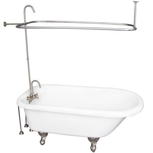 """Anthea 60"""" Acrylic Roll Top Tub Kit in White - Brushed Nickel Accessories"""