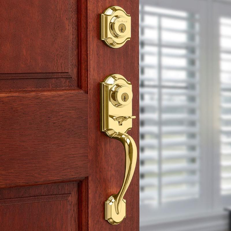 Kwikset Montara Polished Brass Single Cylinder Door Handleset Juno Entry NEW