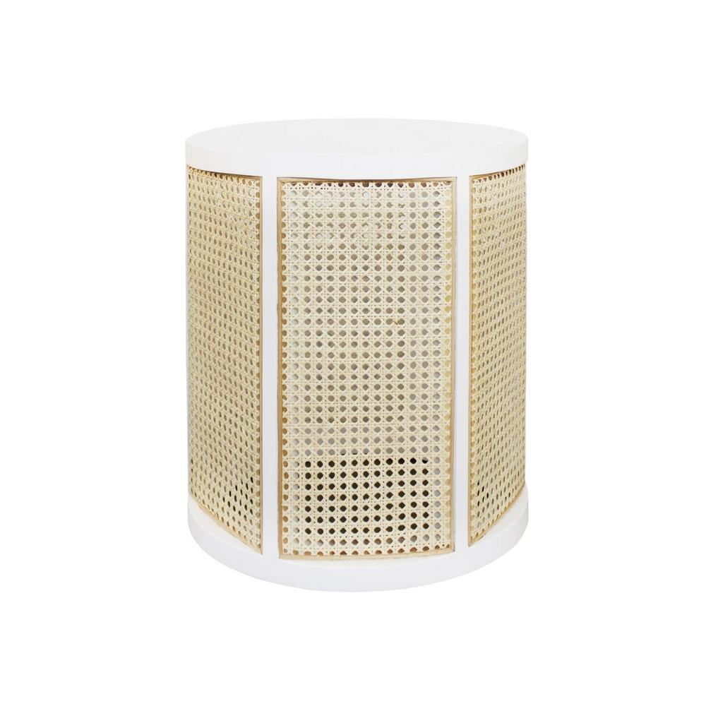 Natural Woven Cane Panels Sit Delicately Inside A Durable White Lacquer Wood Frame In the Freya Side Table - A Versatile Accent Piece Designed To Complement the Style of Any Room.