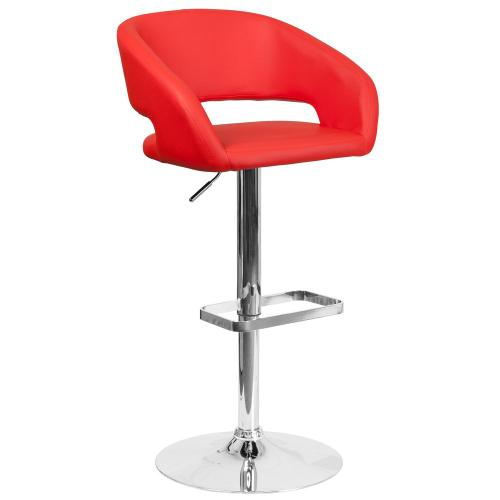 Alamont Furniture - Contemporary Red Vinyl Adjustable Height Barstool with Chrome Base