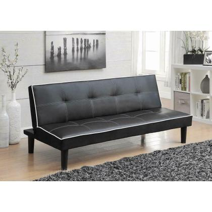 See Details - Contemporary Black Faux Leather Sofa Bed