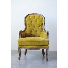 "Product Image - 28-1/2""L x 28""W x 44""H Mango Wood & Cotton Velvet Chair, Chartreuse"