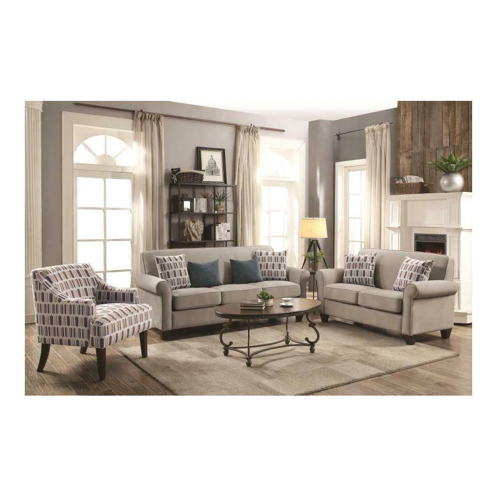 See Details - Gideon Transitional Cement Three-piece Living Room Set