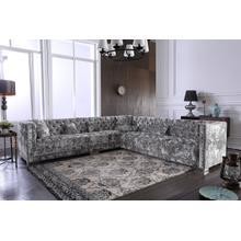 See Details - Divani Casa Fredrick Modern Grey Crushed Velvet Sectional Sofa