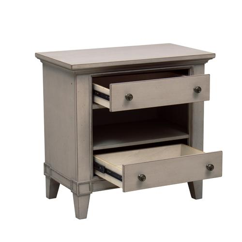 Two Drawer Lighted USB Charging Nightstand