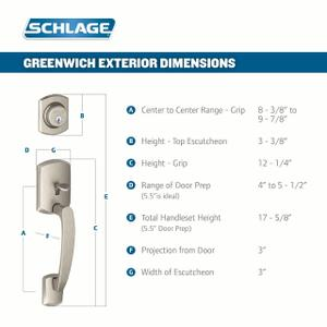 Greenwich Single Cylinder Handleset and Merano Lever - Satin Nickel Product Image