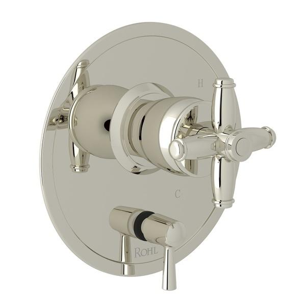 Polished Nickel Zephyr Pressure Balance Trim With Diverter with Cross Handle Zephyr Series Only