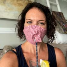See Details - Happy Hour Reusable Face Mask in Raspberry Red Gingham Check