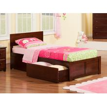 Orlando Twin Flat Panel Foot Board with 2 Urban Bed Drawers Walnut