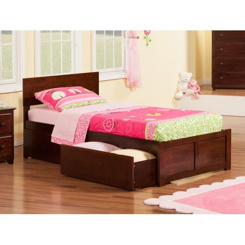 Atlantic Furniture - Orlando Twin Flat Panel Foot Board with 2 Urban Bed Drawers Walnut