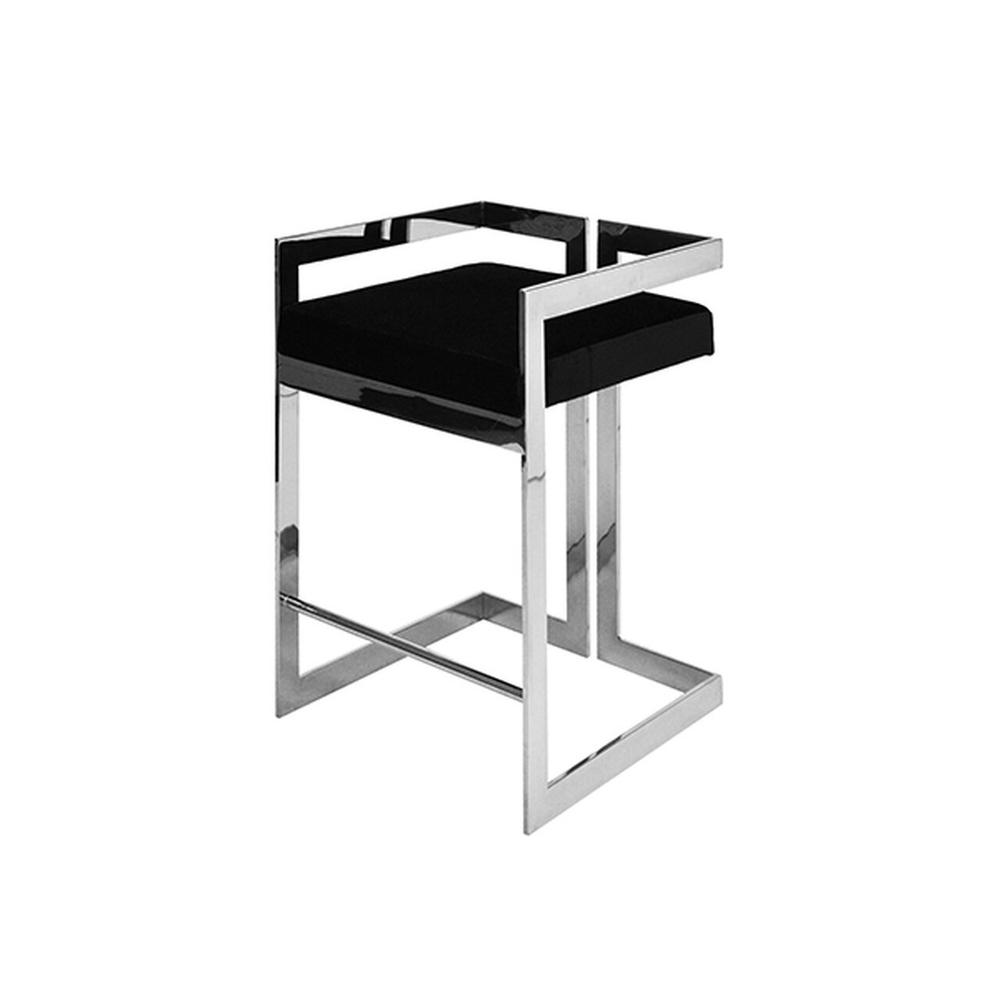 Our Emmett Counter Height Stool Is So Arresting, You'll Want To Design the Entire Room Around It! A Pristine Black Velvet Cushion Sits Atop A Perfectly Symmetric Polished Nickel Base, Creating an Undeniably Stylish and Modern Silhouette.