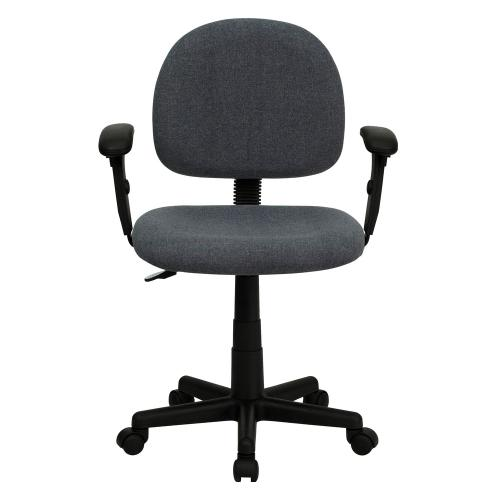 Low Back Gray Fabric Swivel Task Chair with Adjustable Arms