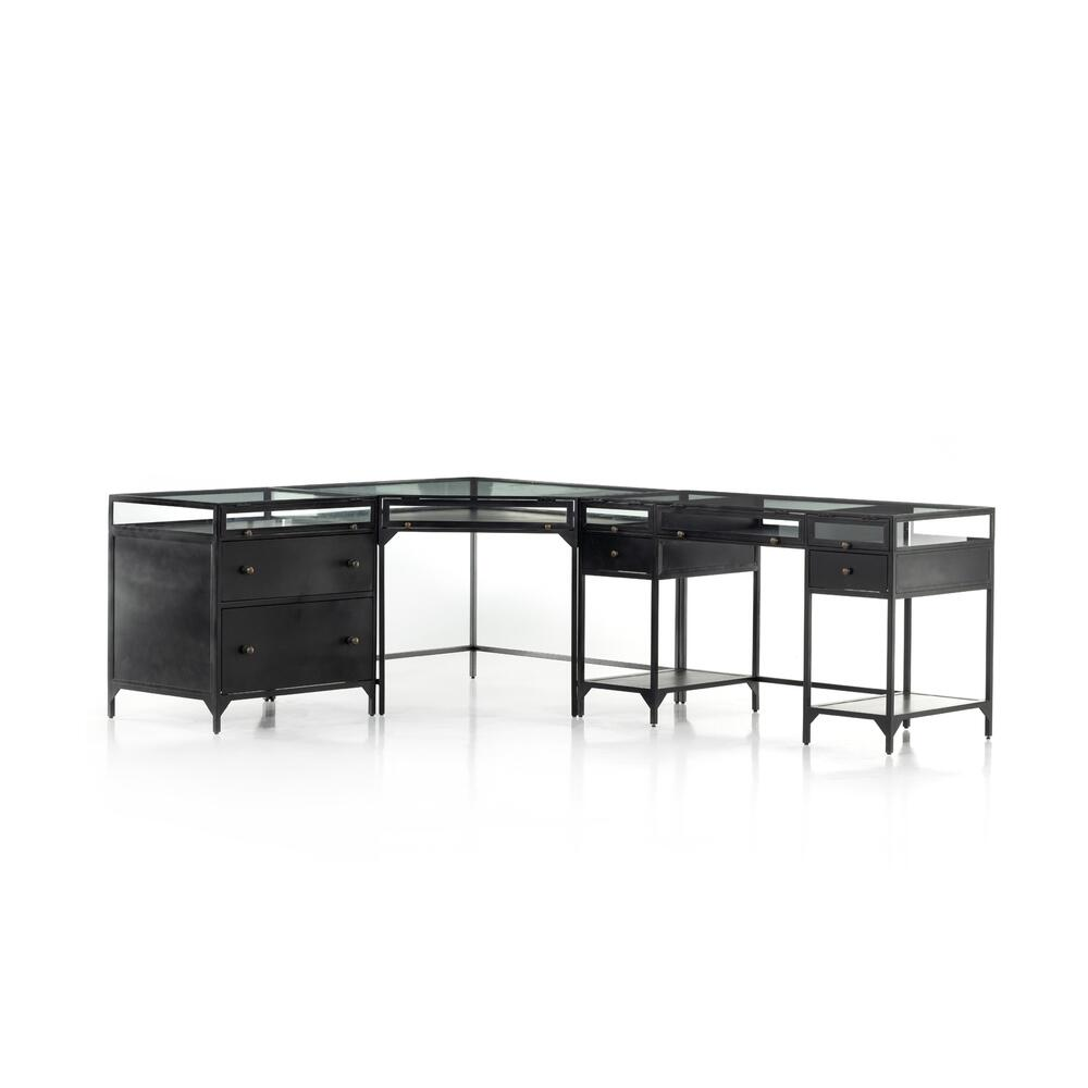 See Details - Black Finish Shadow Box Desk W/ Filing Cabinet