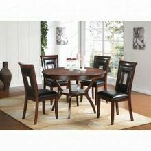 ACME Oswell 5Pc Pack Dining Set - 71597 - Black PU & Cherry