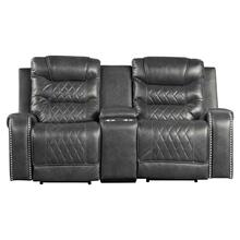 See Details - Power Double Reclining Love Seat with Center Console, Receptacles and USB port