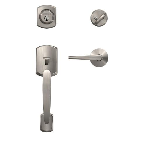 Custom Greenwich Single Cylinder Handleset and Interior Eller Lever with Kinsler Trim - Satin Nickel