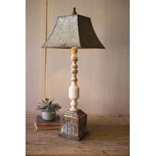 See Details - tall turned banister lamp with metal shade