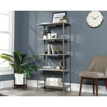 Tall 5-Shelf Wood & Metal Bookcase