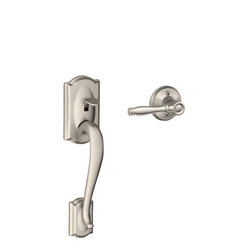 Camelot Front Entry Handle and Birmingham Lever - Satin Nickel