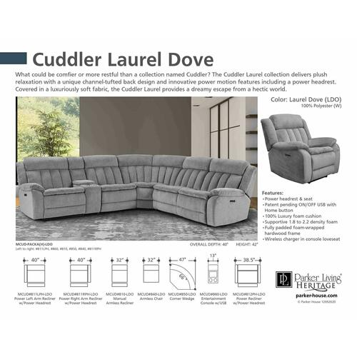 Parker House - CUDDLER - LAUREL DOVE Power Right Arm Facing Recliner