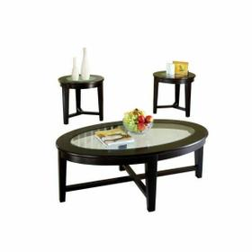 ACME Kort 3Pc Pack Coffee/End Table Set - 18458 - Espresso & Clear Glass