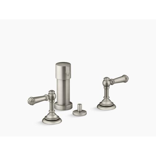 Vibrant Brushed Nickel Widespread Bidet Faucet With Lever Handles
