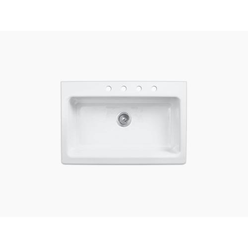 "White 33"" X 22-1/8"" X 8-5/8"" Apron-front, Tile-in Single-bowl Kitchen Sink With 4 Faucet Holes"