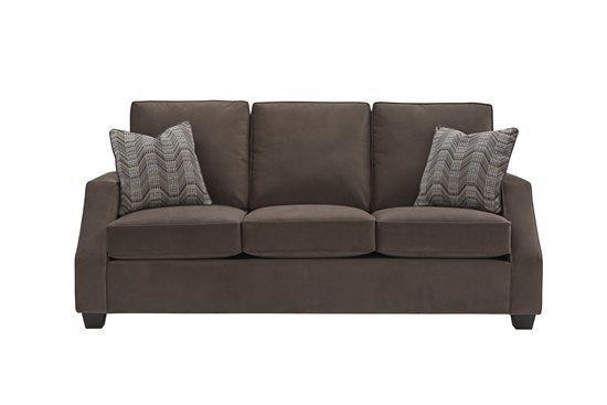 3 Cushion Sofa - Shown in 113-16 Chocolate Twill Microfiber Finish