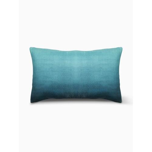 "Fab Habitat - Big Sur Double Sided Indoor Outdoor Decorative Pillow - Teal (14"" x 24"")"