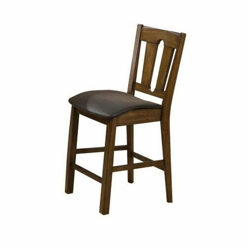 ACME Morrison Counter Height Chair (Set-2) - 00846 - Brown PU & Oak