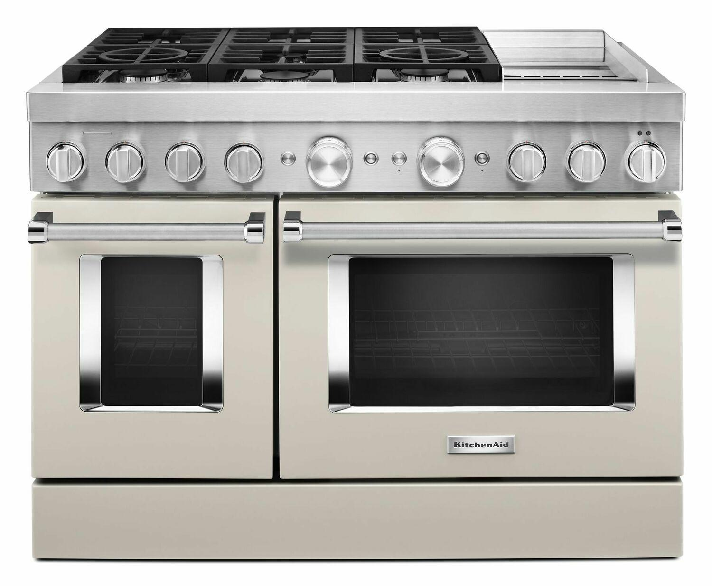 KitchenaidKitchenaid® 48'' Smart Commercial-Style Dual Fuel Range With Griddle - Milkshake