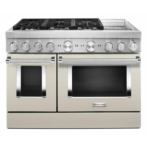 KitchenAid - KitchenAid® 48'' Smart Commercial-Style Dual Fuel Range with Griddle - Milkshake